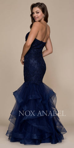 Navy Blue Strapless Applique Prom Gown Tiered Mermaid Skirt