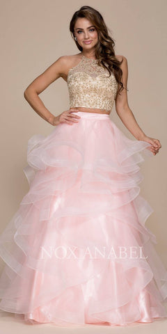 Blush Gold Two-Piece Appliqued Prom Gown Ruffled Skirt