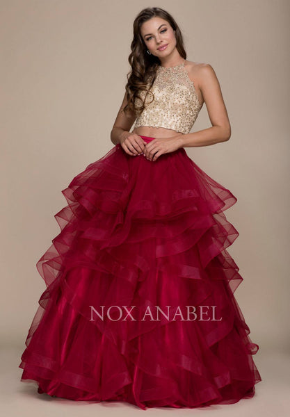 Burgundy Gold Two-Piece Appliqued Prom Gown Ruffled Skirt