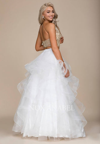 Ivory Gold Two-Piece Appliqued Prom Gown Ruffled Skirt