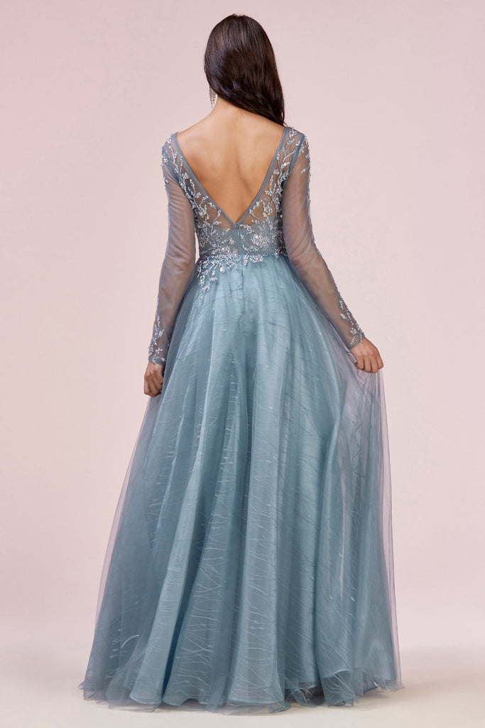 Andrea & Leo A0552 Moonlight A-Line Beaded Long Sleeve Gown