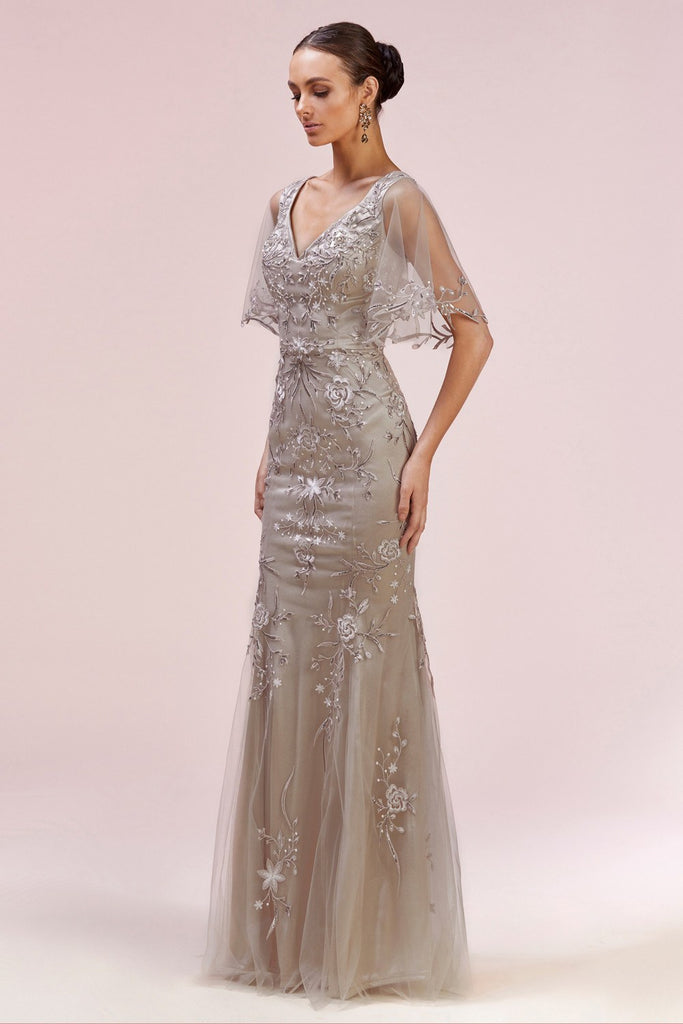 Andrea & Leo A0553 Elegant Flutter Sleeve Lace Fit And Flare Gown