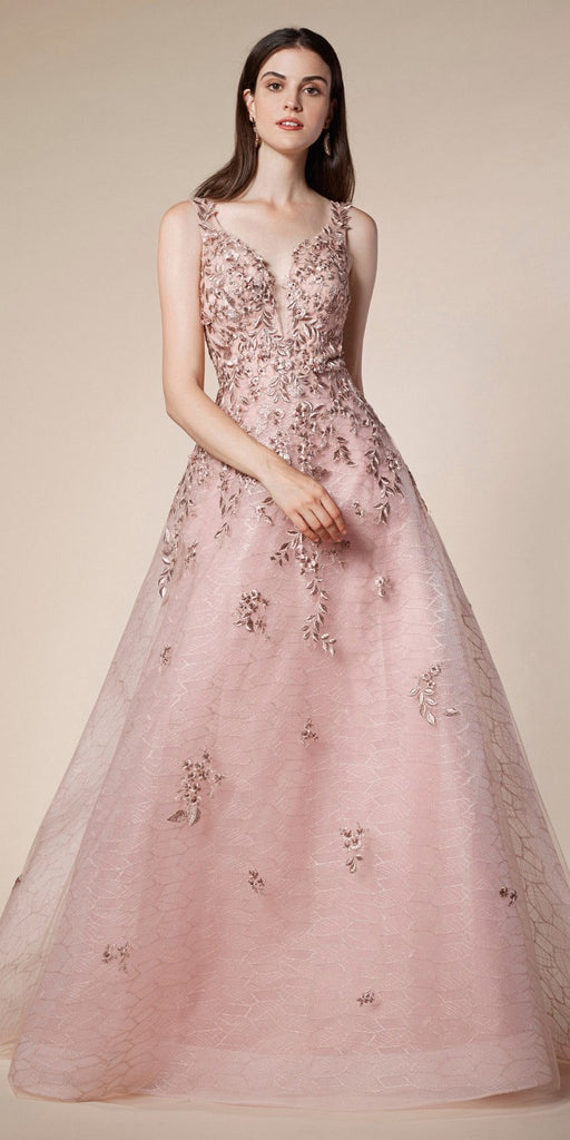 Embroidered Long Prom Dress with V-Neckline Rose