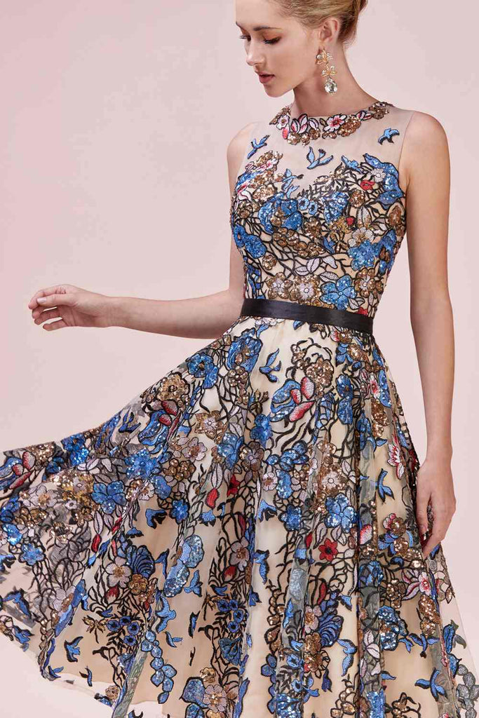 Embroidered Multi-Color Tea-Length Prom Dress Sleeveless
