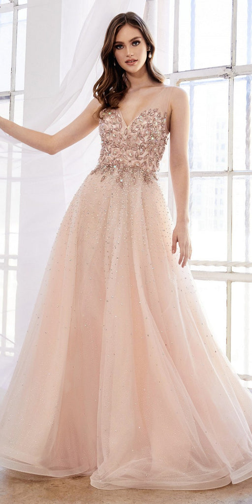 Andrea & Leo A0585 Elegant Beaded Tulle A-Line Blush Gown Illusion Neckline
