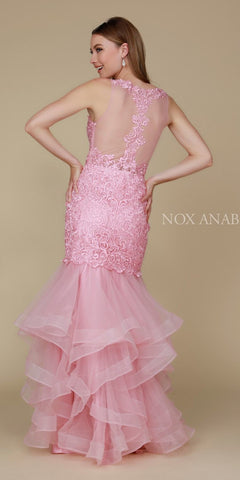 Rose Tiered Mermaid Prom Gown Illusion Back V-Neck Back View
