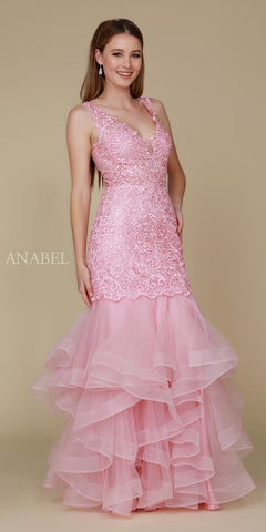 Rose Tiered Mermaid Prom Gown Illusion Back V-Neck