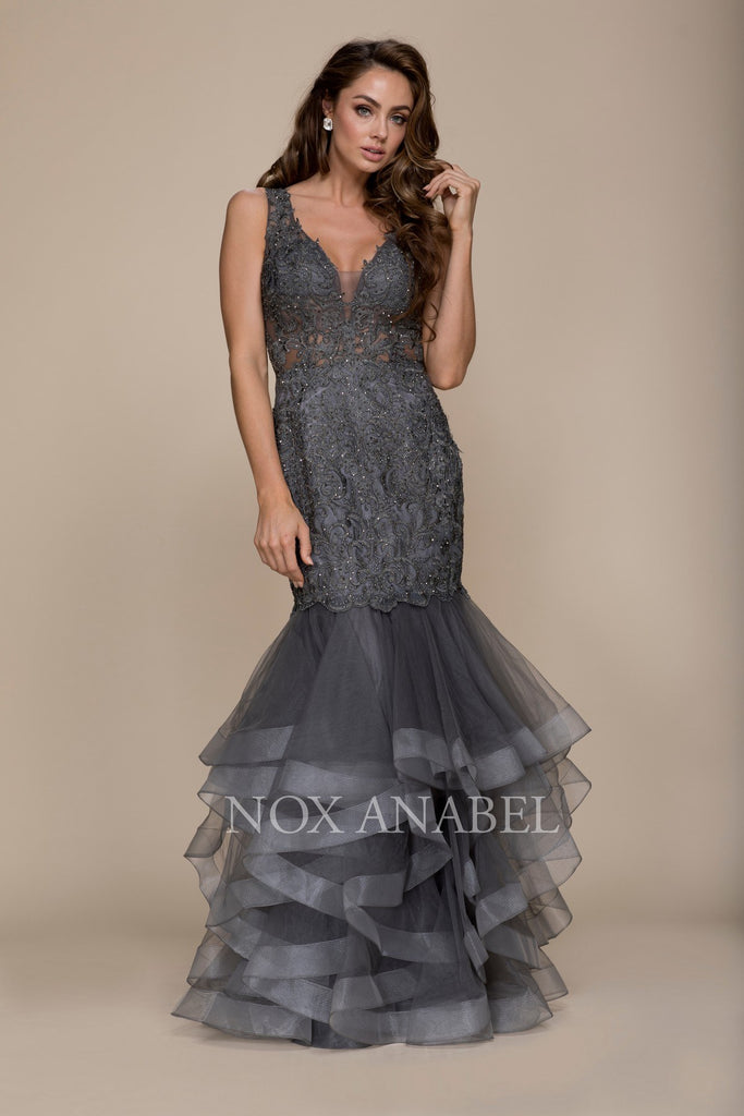 Steel Tiered Mermaid Prom Gown Illusion Back V-Neck