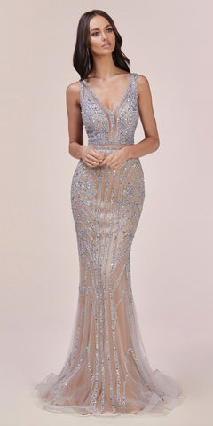 Sexy Floor Length White/Gold Beaded Stretch Knit Sheath Gown