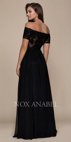 Off Shoulder Appliqued A-Line Long Formal Dress Black