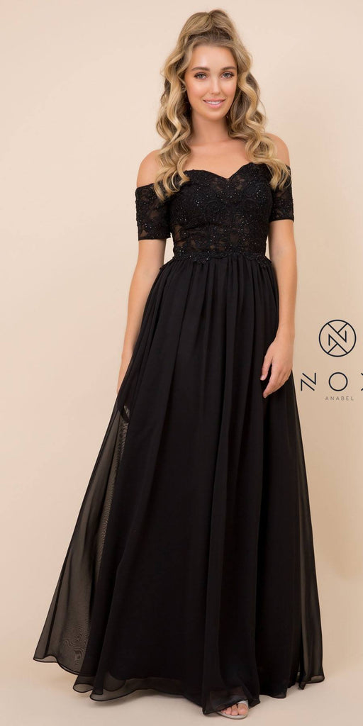 Nox Anabel A061 Long Black Chiffon A-Line Dress Off Shoulder Appliqued