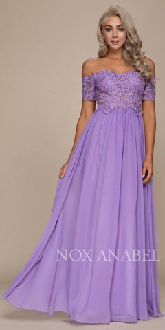 Off Shoulder Appliqued A-Line Long Formal Dress Lavender