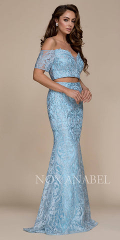 Off Shoulder Two Piece Mermaid Prom Gown Blue