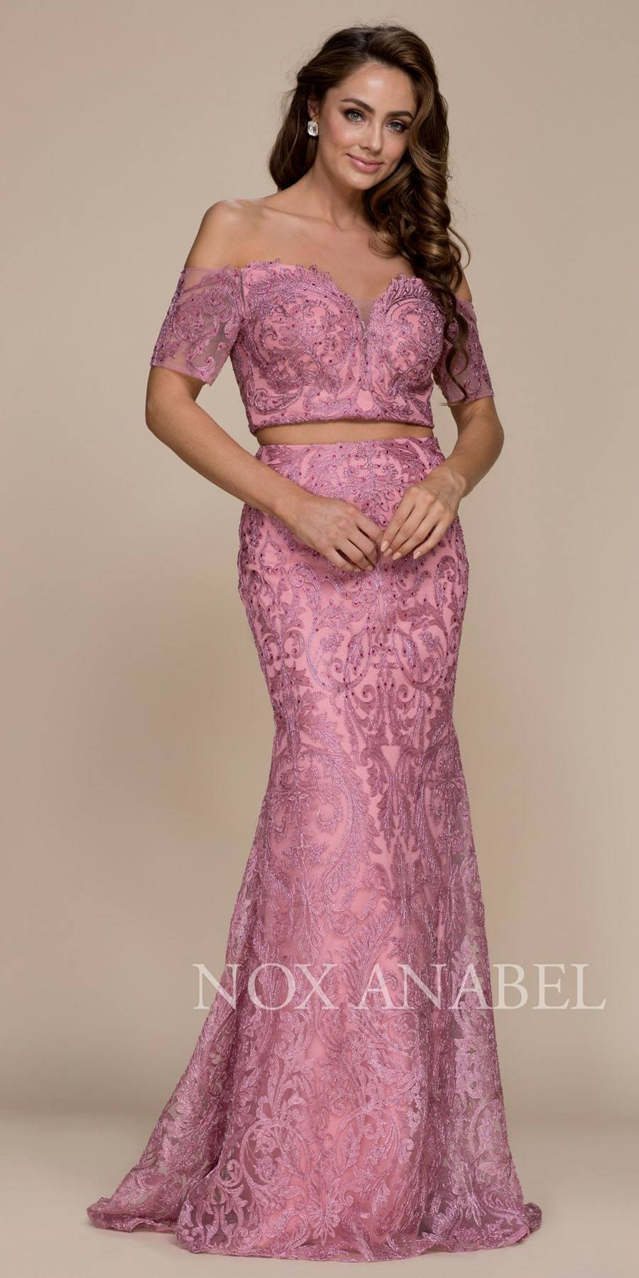 Off Shoulder Two Piece Mermaid Prom Gown Mauve – DiscountDressShop