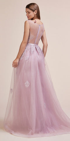 Appliqued Sleeveless Long Prom Dress with Cape Skirt Mauve