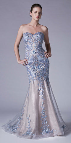 Strapless Mermaid Prom Gown with Appliques Dusty Blue