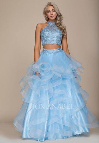 Two Piece Prom Gown Cut Out Back Ruffled Skirt Blue