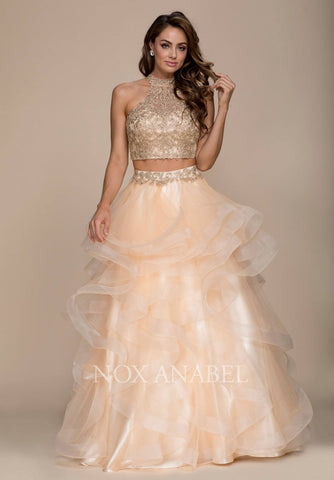 Poofy Short Lace Gold Semi Formal Dress Ribbon Belt Strapless