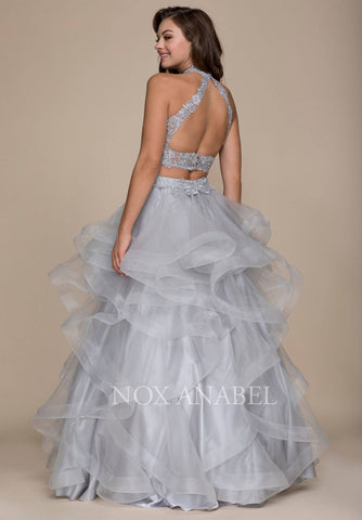 Two Piece Prom Gown Cut Out Back Ruffled Skirt Silver