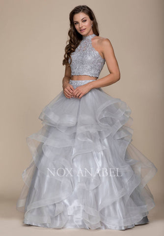 Two-Piece Long Prom Dress Lace Crop Top and Satin Skirt Hunter Green