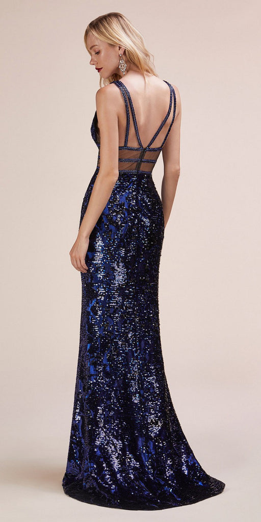 Sequins Long Prom Dress with Sheer Side Cut-Outs Cobalt