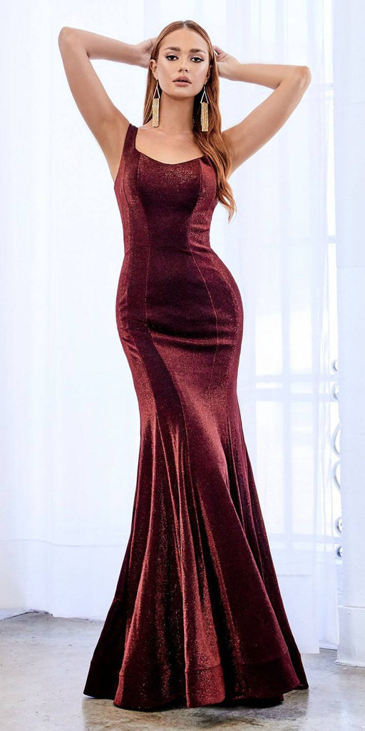 Long Fitted Metallic Knit Dress Burgundy Open Criss Cross Lace Up Back