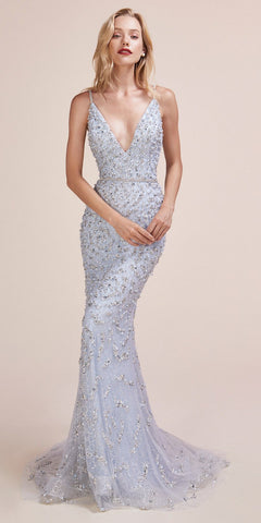 Andrea & Leo A0639 Deep V-Neck Mermaid Long Beaded Prom Dress Blue