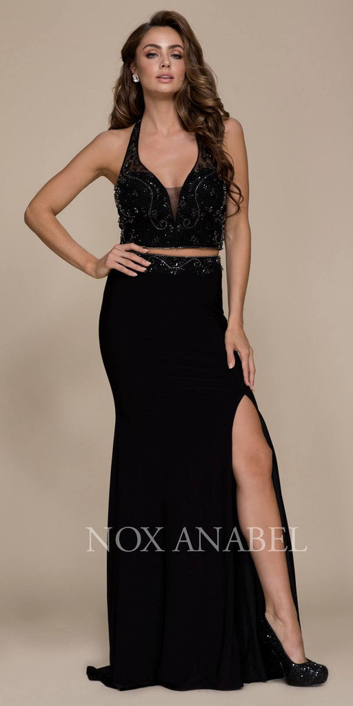 Black V-Neck Beaded Top Two Piece Prom Gown with Slit