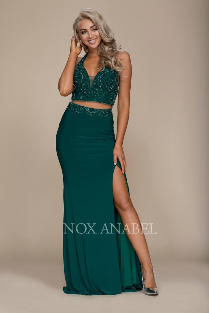 Green V-Neck Beaded Top Two Piece Prom Gown with Slit
