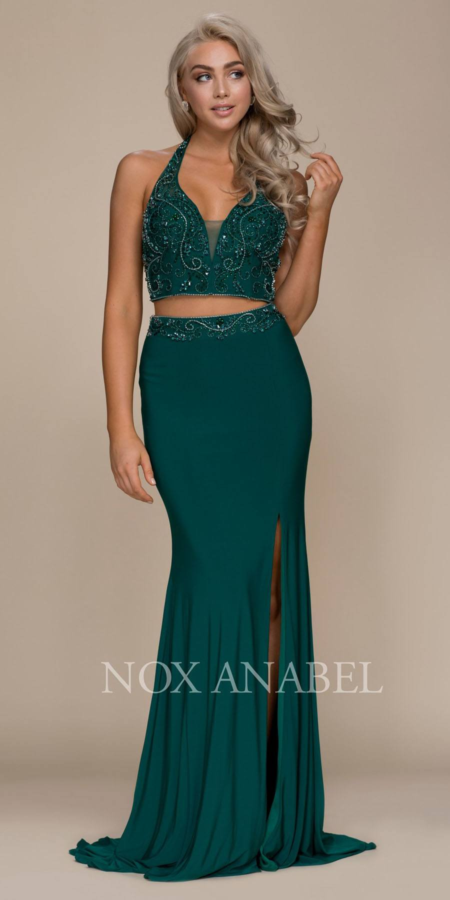 3c91d62953 ... Beaded Top Two Piece Prom Gown with Slit. Tap to expand