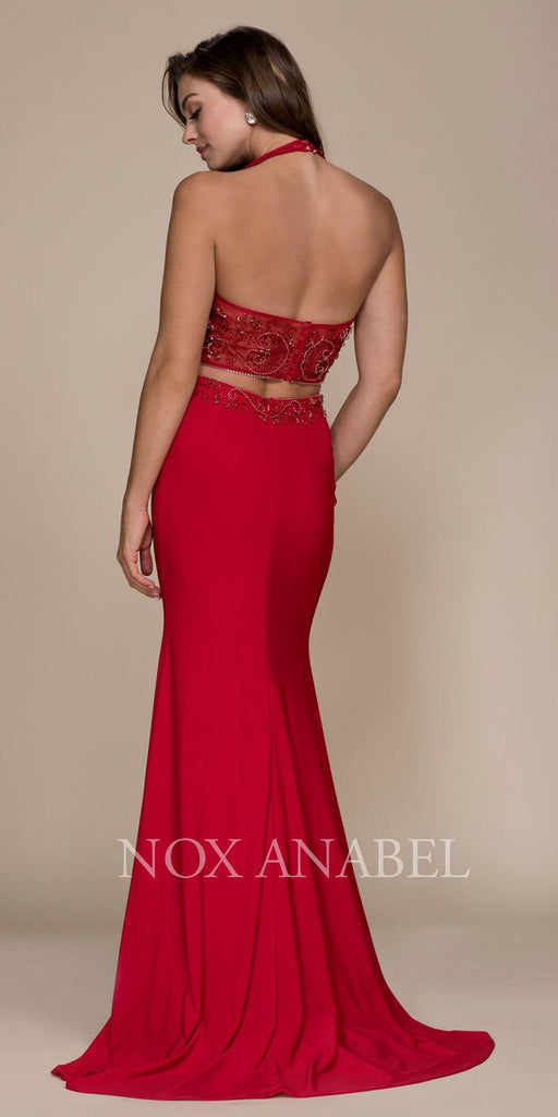 Red V-Neck Beaded Top Two Piece Prom Gown with Slit