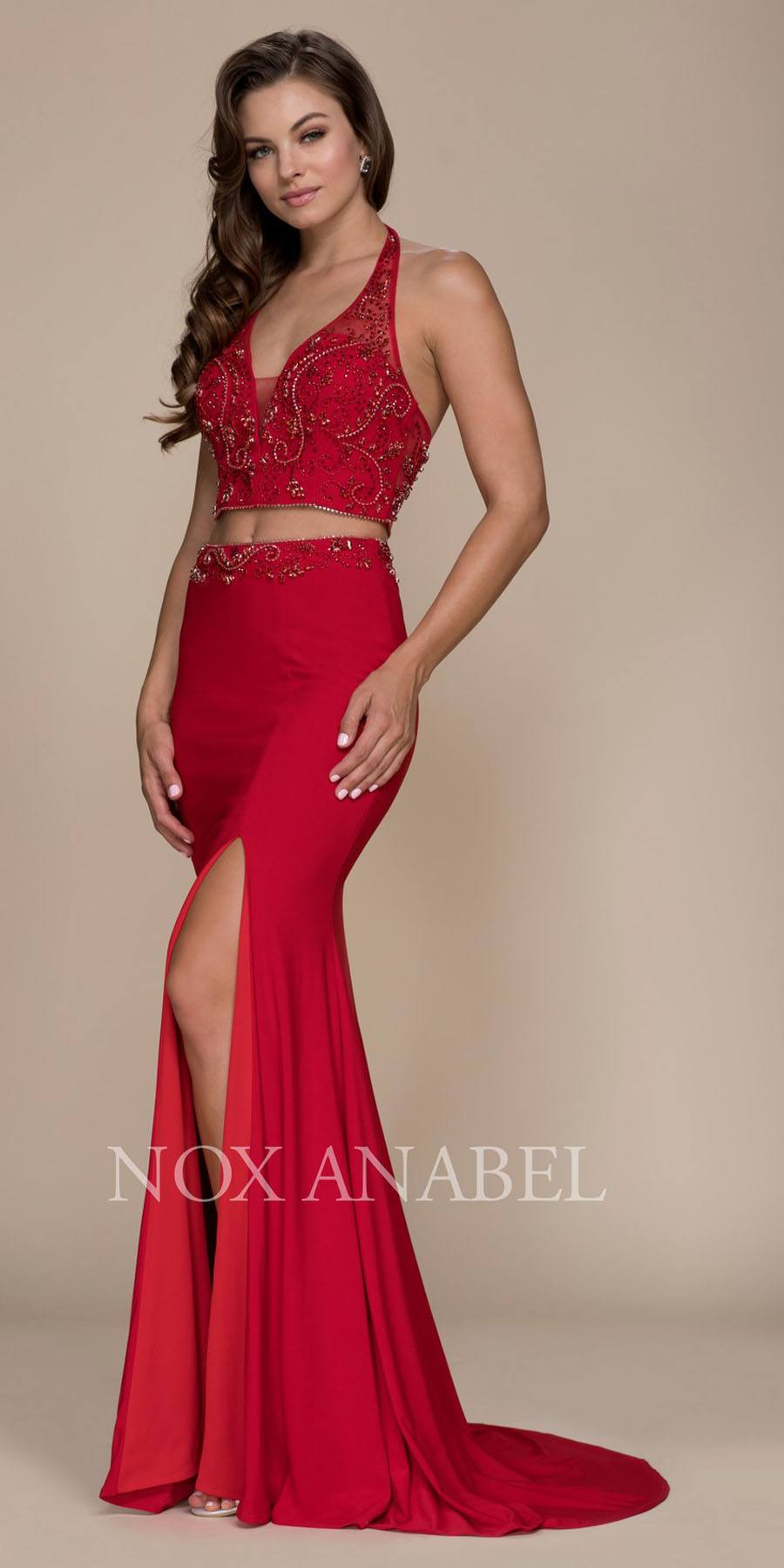 Red V-Neck Beaded Top Two Piece Prom Gown with Slit – DiscountDressShop