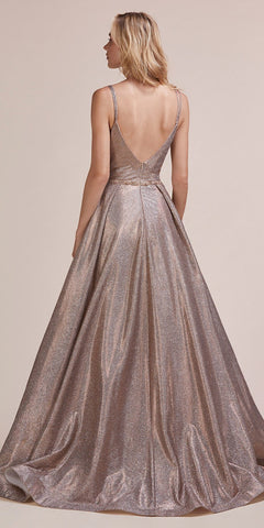 V-Neck and Back Copper Metallic Long Prom Dress