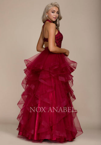 Burgundy Halter High Neckline Tiered Long Prom Dress