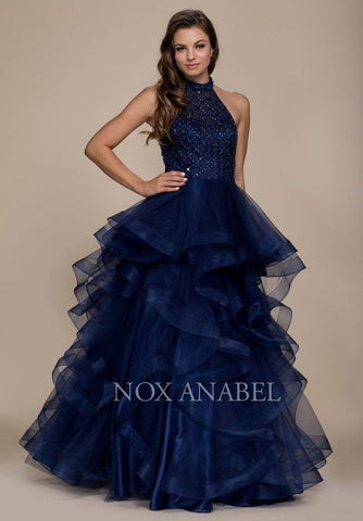 Navy Blue Halter High Neckline Tiered Long Prom Dress