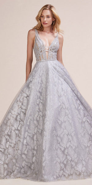 Plunging V-Neck and Back Glitter Prom Ball Gown Silver