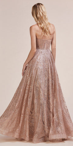 Rose Gold Sweetheart Neckline Strapless Long Prom Dress