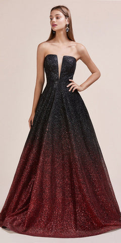 Nox Anabel 8268 - Black Printed Two-Piece Sleeveless Prom Gown V Back