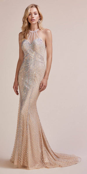 Halter Studded Long Prom Dress Cut-Out Back Nude