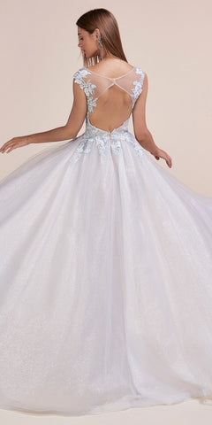 Ice Blue Appliqued Long Prom Dress with Cape Skirt