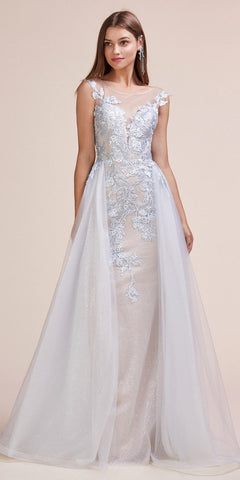 Cap Sleeved Wedding Gown Bateau Neck with Appliques Off White