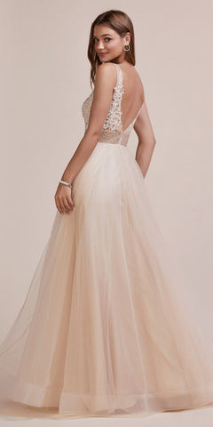 Champagne Prom Ball Gown Lace Appliqued Bodice