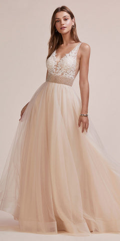 A-Line Beaded Lace Bodice Dress Champagne Long Tulle Skirt