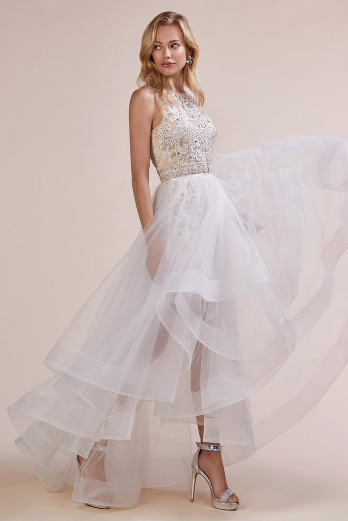 White/Nude Long Prom Dress with Detachable Tiered Skirt