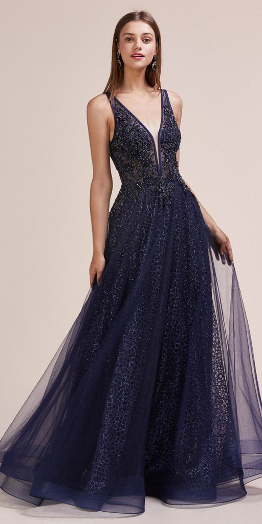 Andrea & Leo A0680 Andrea & Leo A0680 Romantic Vespertine Beaded V-Neckline A-Line Navy Gown