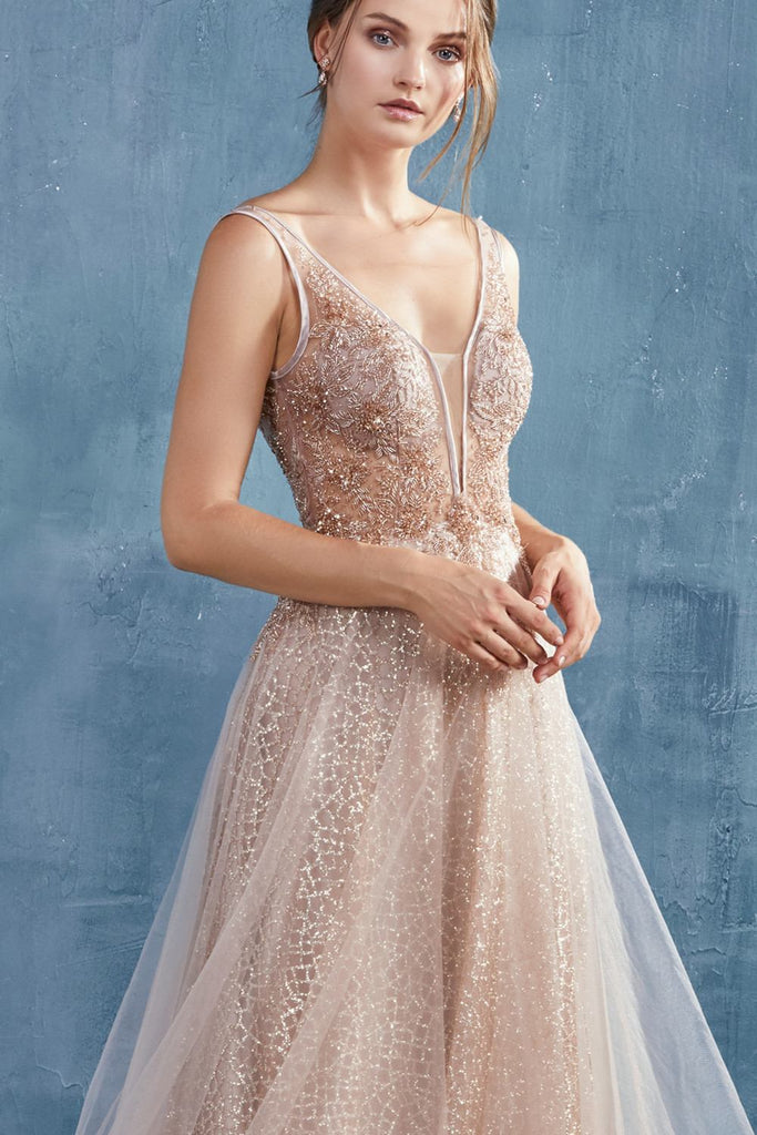 Andrea & Leo A0680 Andrea & Leo A0680 Romantic Vespertine Beaded V-Neckline A-Line Rose Gold Gown
