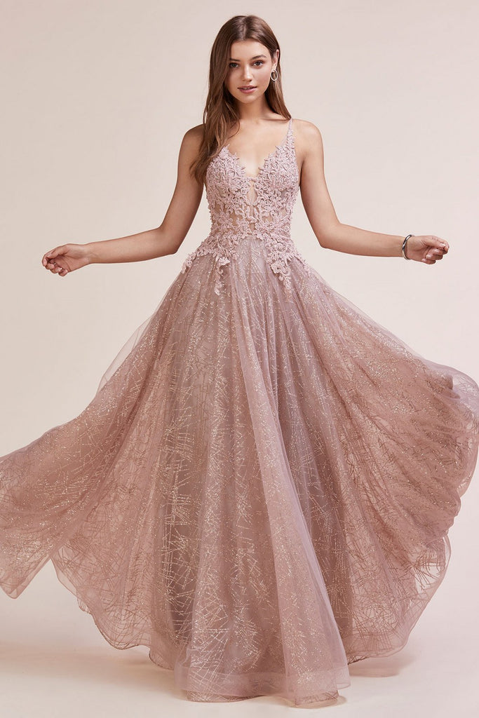 Rose Gold Glitter Long Prom Dress with Appliqued Bodice