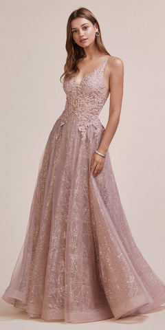 Off-Shoulder Sequins and Appliqued Prom Ball Gown Lilac