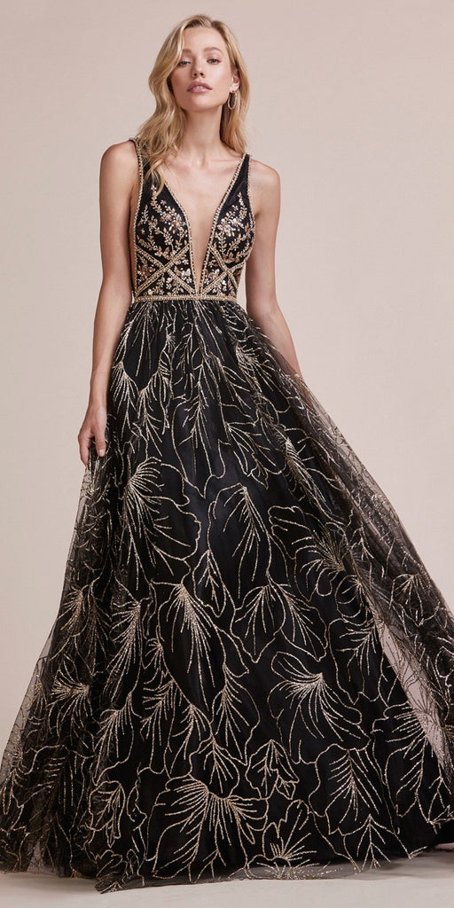 Black/Gold Glitter Prom Ball Gown with Deep V-Neck and Back