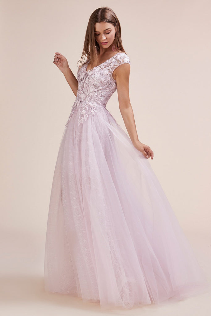 Appliqued Bodice Long Prom Dress Cut-Out Back Mauve